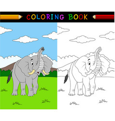 cartoon elephant coloring book vector image