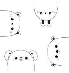 cat kitten bear dog puppy rabbit hare face head vector image