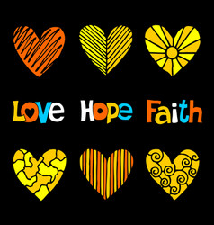 christian inscriptions and hearts drawn by hand vector image