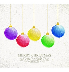 Christmas oil pastel baubles greeting card vector image