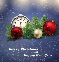 Clock and Christmas decorations vector
