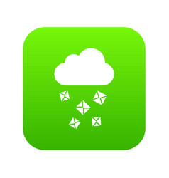 cloud and hail icon digital green vector image