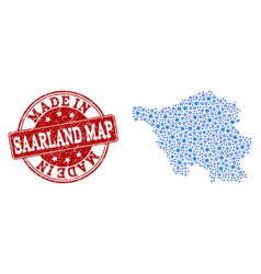 Collage map of saarland map with engine vector