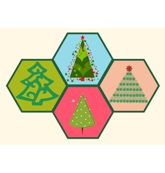 Collection of Christmas trees 03 vector image