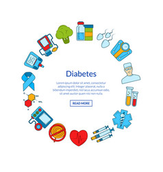 Colored diabetes icons in circle shape vector