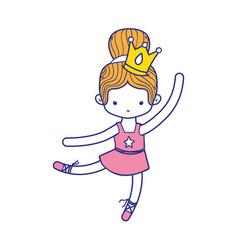 Colorful girl practice ballet with bun hair design vector