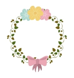 Colorful ornament creepers with flowers and pink vector