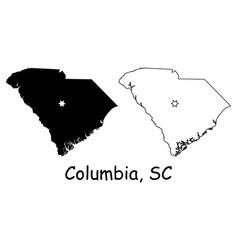 Columbia south carolina sc state border usa map vector