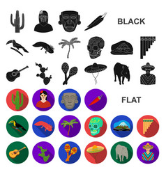 country mexico flat icons in set collection for vector image