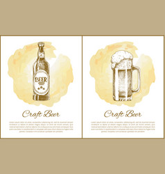 Craft beer objects set hand drawn sketches vector