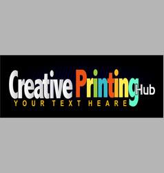 creative printing hub logo vector image