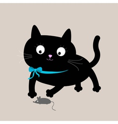 Cute cartoon black cat with mouse Funny animal vector