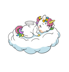 Cute little unicorn sweet dreams print sleep vector