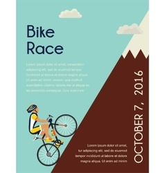 Cyclist in bicycle racing go to mountain race vector