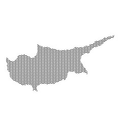 cyprus map country abstract silhouette of wavy vector image