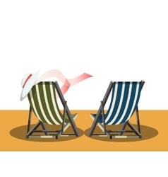 Deck chairs on the beach vector
