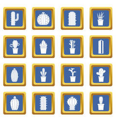 Different cactuses icons set blue vector