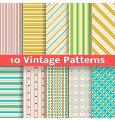 Different vintage stripe seamless patterns tiling vector