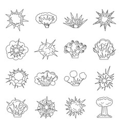 explosion icons set outline style vector image