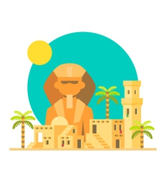 Flat design of Sphinx Giza with village vector image