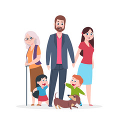 flat family happy hugging people characters vector image
