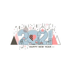 flat line design concept banner - happy new year vector image