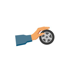 flat man hand holding car wheel with tire vector image