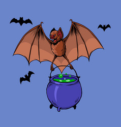 flying bat bring witch potion vector image