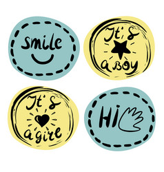 Four children s logo with handwriting smile it s vector