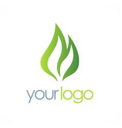 green bio organic logo vector image