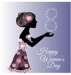 greeting card or banner for 8 march happy womens vector image