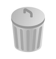 Grey trash can icon isometric 3d style vector
