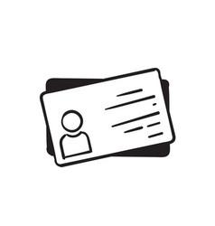Hand drawn employee clerk card id card icon vcard vector