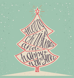 hand drawn typographic poster merry christmas and vector image