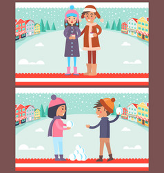 Happy boy and girl playing snowballs drink coffee vector