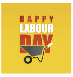 Happy labor day simple typography on a yellow vector