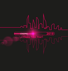 Happy new year 2019 with with an abstract city vector