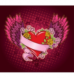 heart ribbon wings vector image