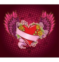 Heart ribbon wings vector