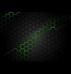Hexagonal pattern on green magma background vector