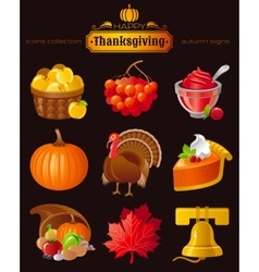 Icon set with autumn and thanksgiving food vector