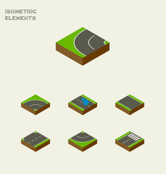 Isometric road set of plash bitumen road and vector