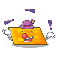juggling parallelogram mascot cartoon style vector image