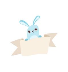 Little rabbit holding empty banner cute cartoon vector