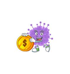 Mascot coronavirus influenza showing one finger vector