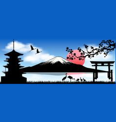 Mount fuji the morning sunrise vector