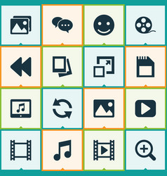 Music icons set collection filmstrip play vector