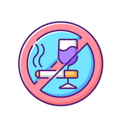 No alcohol and cigarettes rgb color icon vector