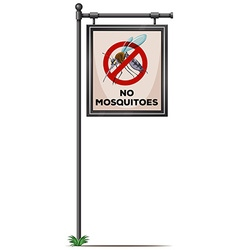 No mosquitoes sign on the pole vector image