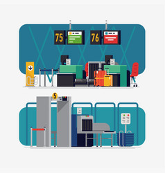 on airport check-in desk and security line vector image
